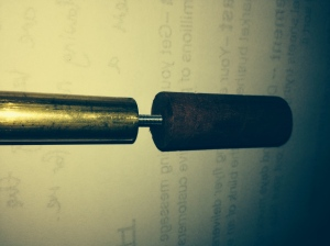 The brass and redgum blank joined with M3 threaded rod