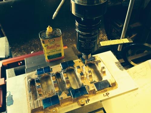 Tapping the main bearing blocks using the Tapmatic and Tap Magic.
