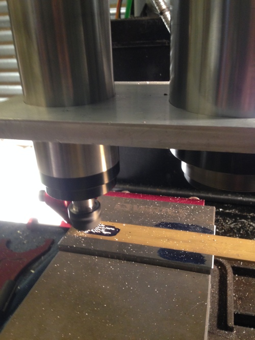 Engraving a small brass plate, at 20000 rpm.