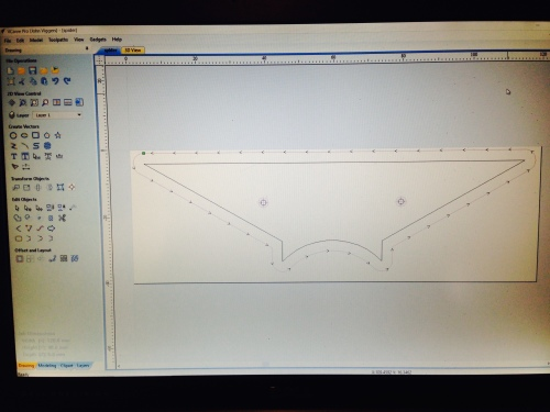 Transfer the dimensions to Vcarve pro, to generate the G code. (not essential to use Vcarve pro. This simple shape could have been entered directly into the CNC mill)