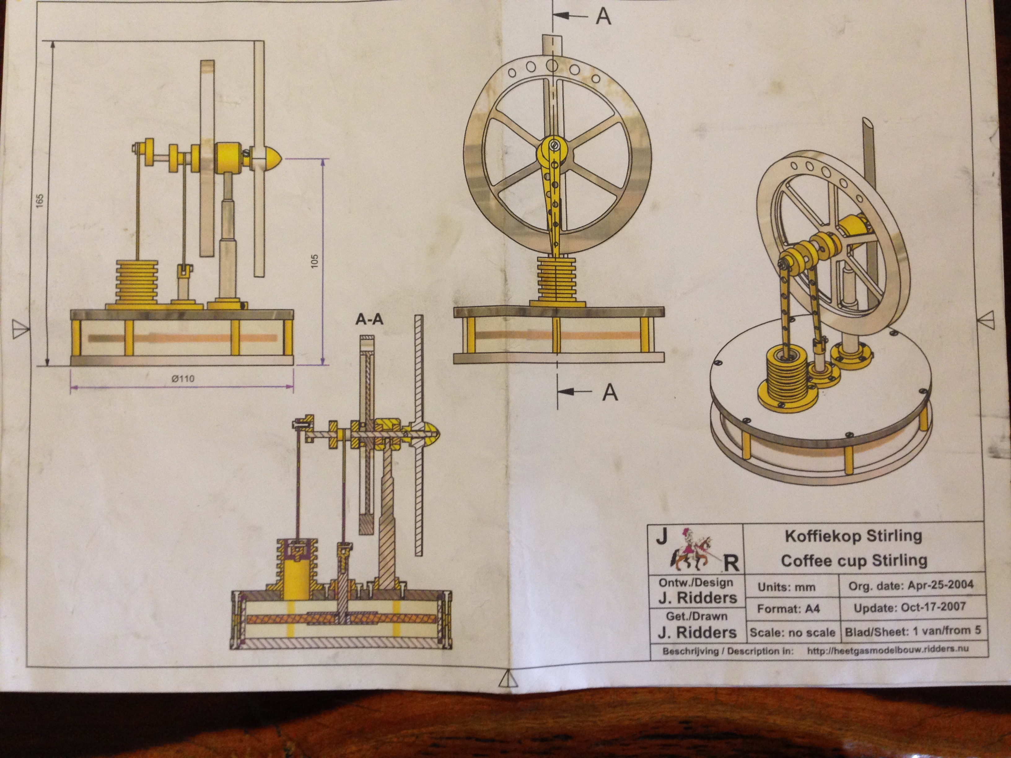 Koffiekop johnsmachines for Stirling engine plans design blueprints