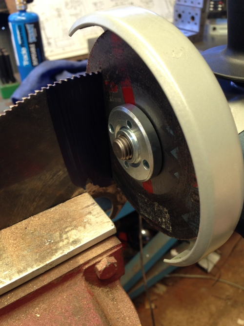 Using an angle grinder with a 1mm cutting disk. It cuts through the cold saw b